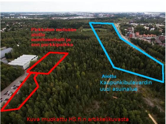 Kaaviokuva Keskuspuistoa ja Pirkkolan metsää uhkaavista rakennushankkeista